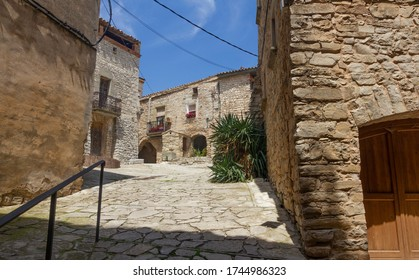 Inside Montfalcó Murallat. Montfalcó Murallat is located in the Segarra region, perched on top of a hill. It is an example of a medieval enclosed village in Catalonia (Spain).