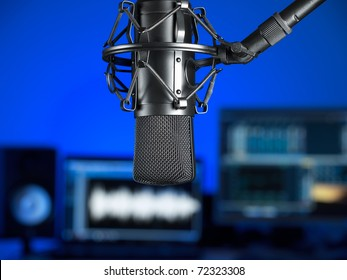 Inside the music recording studio , focus on the microphone, for music production,audio,entertainment themes