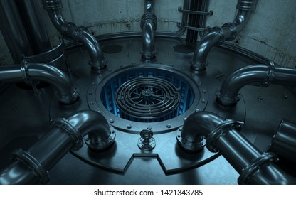 Inside the nucleus of a nuclear fission reactor in operation.