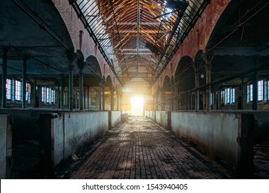 Inside old abandoned German stable or barn with horse boxes