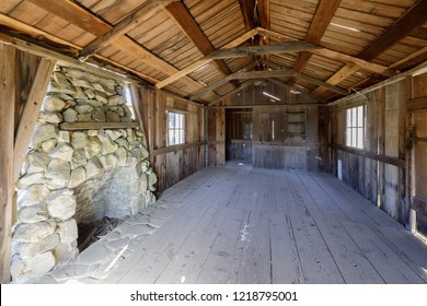 Inside an old abandoned Log Cabin in Wilder Ranch State Park. Santa Cruz, California, USA.