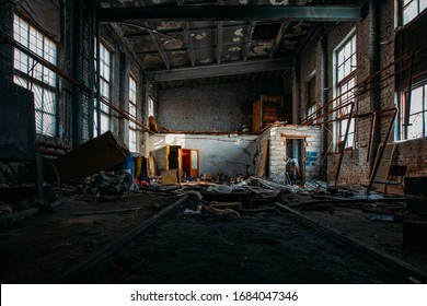 Inside old burnt abandoned ruined industrial building