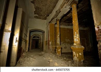 Inside of old creepy abandoned mansion. Former manor of Karl von Meck, Tula region