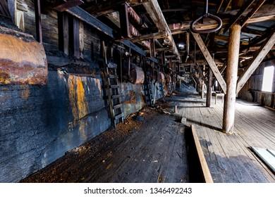 Inside the old Ruins of old coal mine Nr. 2 near Longyearbyen - Svalbard, Norway