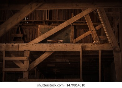 Inside of Old Rustic Wooden Barn