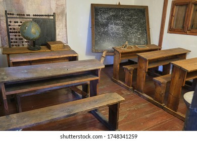 Inside Old School in Sirogojno Ethno Village and Open-Air Museum, Serbia