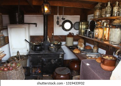 Inside old ships galley kitchen