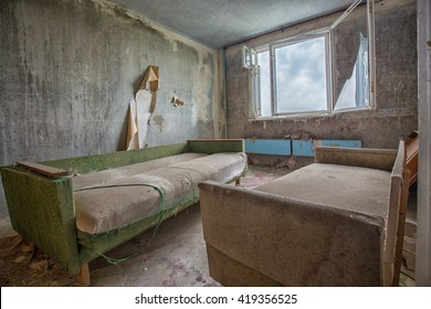Inside one of the many abandoned apartments in the City of Pripyat in the Chernobyl exclusion zone.