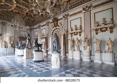 Inside one of the rooms of the Capitoline Museums in Rome, Italy  The museum was opened to the public at the wish of Pope Clement XII in 1734.