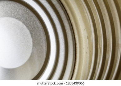 inside of open tin can view, close up.