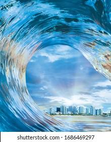 Im Inneren des Out Hollow Wave Surfers Blick von innen aus hohl abstürzenden Röhren Reiten Ozean Wave Cityscape in ihm.