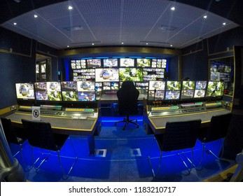 inside an outside broadcasting truck: director and production