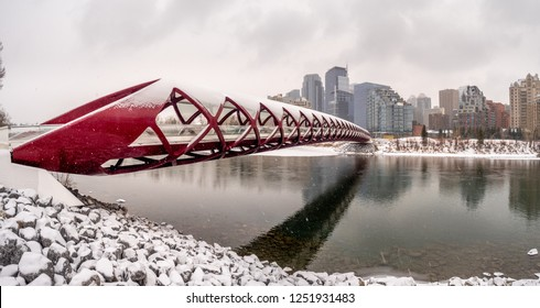 Inside a pedestrian bridge in Calgary Alberta during a snowy and wintery day.
