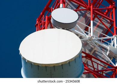 Inside perspective of a tall communications tower