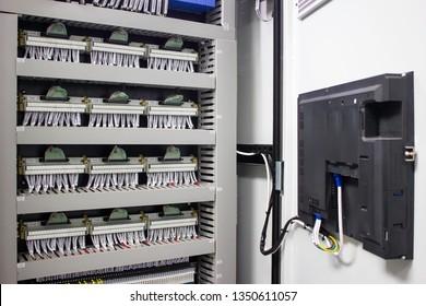 Inside of PLC programmable logic control panel