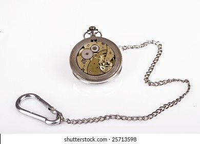 The inside of a pocket watch with chain