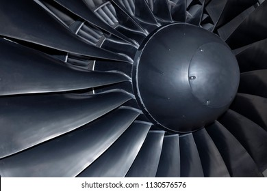 Inside of a powerful aircraft jet engine