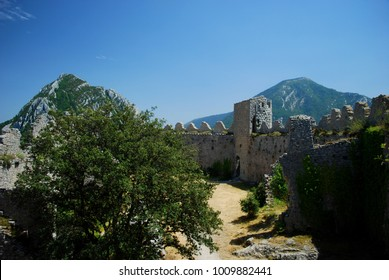 Inside Puilaurens Castle in the south of France, built by the Cathars who followed a Gnostic version of Christianity.