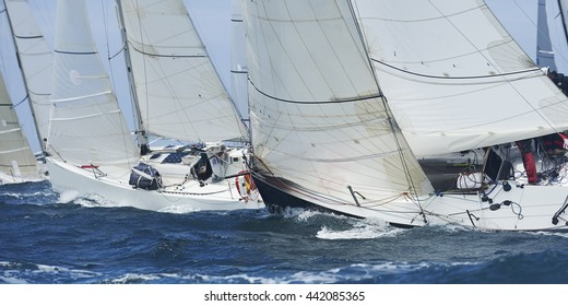 inside race boat sailing