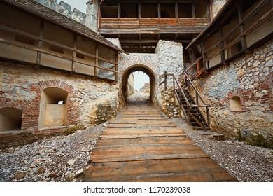 Inside of Rasnov Citadel (Rosenauer Burg) in Transylvania, Romania