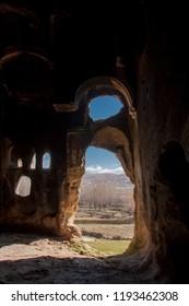 Inside the rock church. Ayazini village of Afyonkarahisar, Turkey