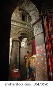 Inside the rock hewn church of Bet Maryam at Lalibela in Ethiopia