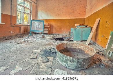 Inside a room of the kindergarten in the Chernobyl exclusion zone
