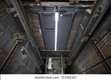 inside of roping Elevator, Lift box built  in high building show strong structure use for engineering construction and industrial object