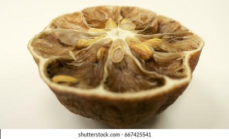 Inside of rotten lemon