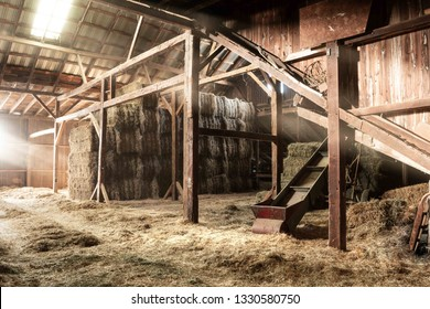 Inside Rustic Wooden Old Barn Hay Bales Straw Sunlight Rays Light Beams Farm