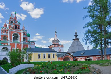 Inside the Savvino-Storozhevski monastery, Zvenigorod, Russia. There are belfry on the left, Trinity gate church in the middle and the chamber of tsarina on the right