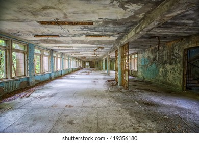 Inside a school hall in Chernobyl Exclusion zone