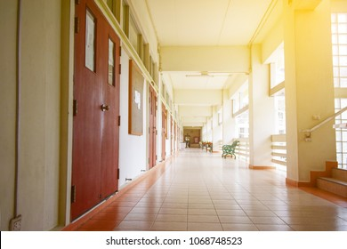 Inside the school or University building with sunlight