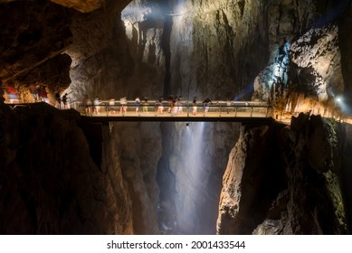 Inside of skocjan cave in Slovenia. Amazing double cave system. The first part is a dripstone cave. The an other part is a karst cave it has river on bottom  which name is Reka. - Shutterstock ID 2001433544