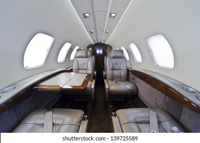 Inside of small business jet