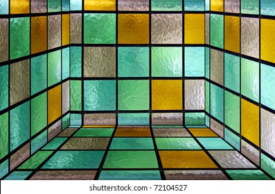 Inside of a square box made from decorative stained glass
