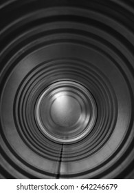 Inside of stainless steel can of snack in black and white tone