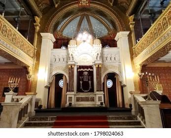 Inside of Tempel Synagogue in Krakow, Poland. Tempel Synagogue is one of Jewish temples in Jewish quarter in Krakow. 2017-6
