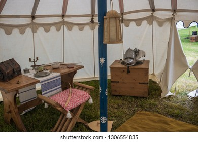 Inside tent at a Medieval life