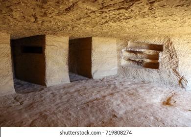 Inside the tombs at Mada'in Saleh, Al Ula, KSA
