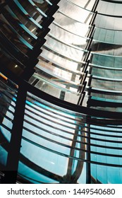 Inside the top of a lighthouse with the glass architecture. Hirtshals Fyr in Hirtshals, North Jutland in Denmark, Europe