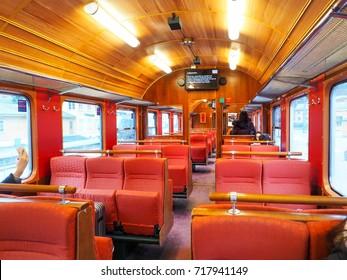 Inside train of Flamsbana railway ,the Flam Line is a 20.2-kilometer (12.6 mi) long railway line between Myrdal and Flam in Aurland, Norway,  in winter season at Feb 2016