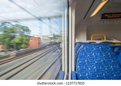 From inside the train motion blur ashfield