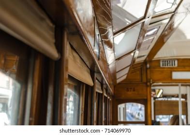 Inside tram 28, vintage tramway, Lisbon, Portugal
