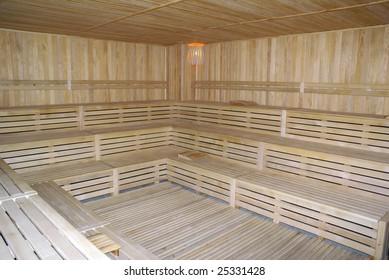 Inside turkish wooden sauna, Turkey