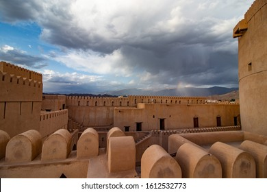 Inside the Unesco site castle of Nizwa with view of the historic