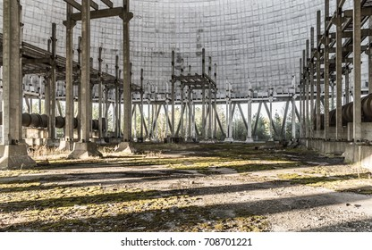 Inside the unfinished and abandoned cooling tower of the 5th block of the Chernobyl nuclear power plant