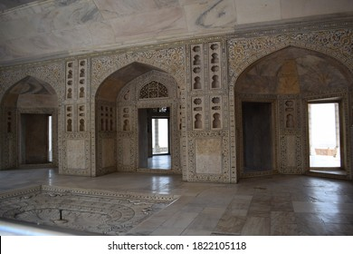 Inside view of Agra Fort - it is a historical fort. It was the main residence of the emperors of the Mughal Dynasty until 1638, City: Agra, State: Uttar Pradesh, Country: India. March 10th 2018.