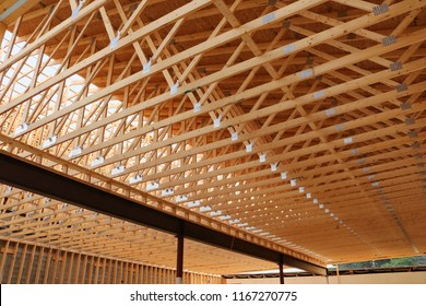 inside view of a commercial building new roof construction