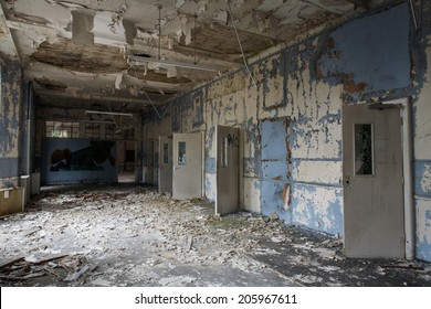 inside view of a deserted run down building